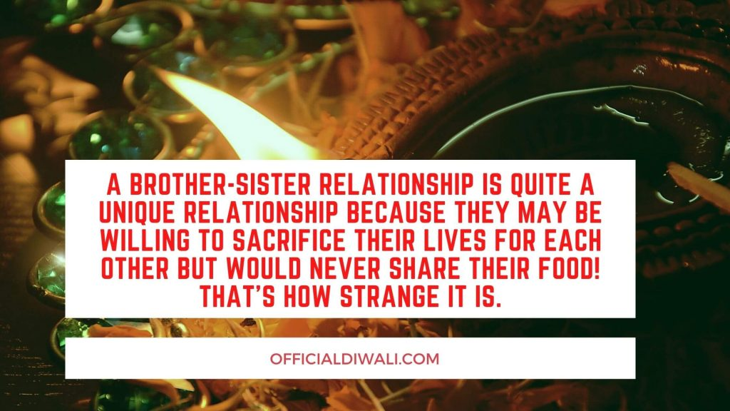 A brother-sister relationship is quite a unique relationship because they may be willing to sacrifice their lives for each other but would never share their food! That's how strange it is.