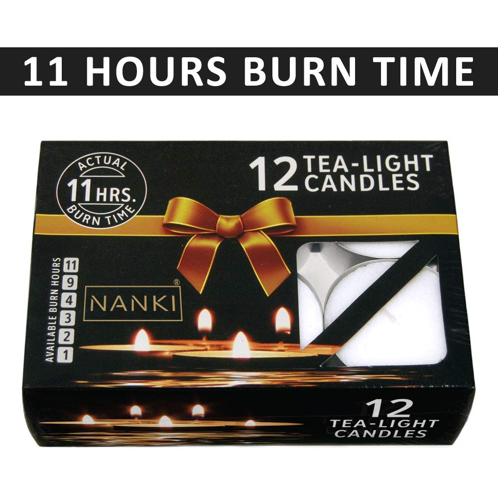 Nanki Trades Giant Wax Tealight Candles (White, Set of 12, 11 Hours Burn Time)