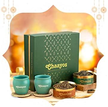 Chaayos Premium Tea Gift Box   Perfect Festival Gift   Immunity Boosting Green Teas & Kulhads   Wellness Gift Hamper