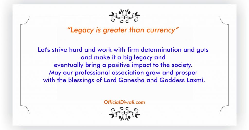 May our professional association grow and prosper with the blessings of Lord Ganesha and Goddess Laxmi.