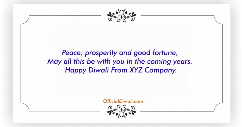 Diwali Greeting message for corporates