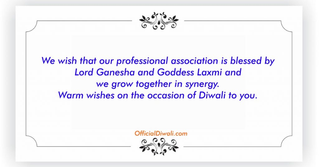 Warm wishes on the occasion of Diwali to you from Our Company.